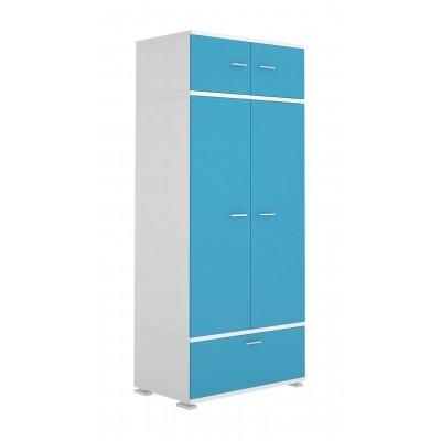 Шкаф распашной Мэрдэс КС-20 Белый жемчуг / Синий мрамор