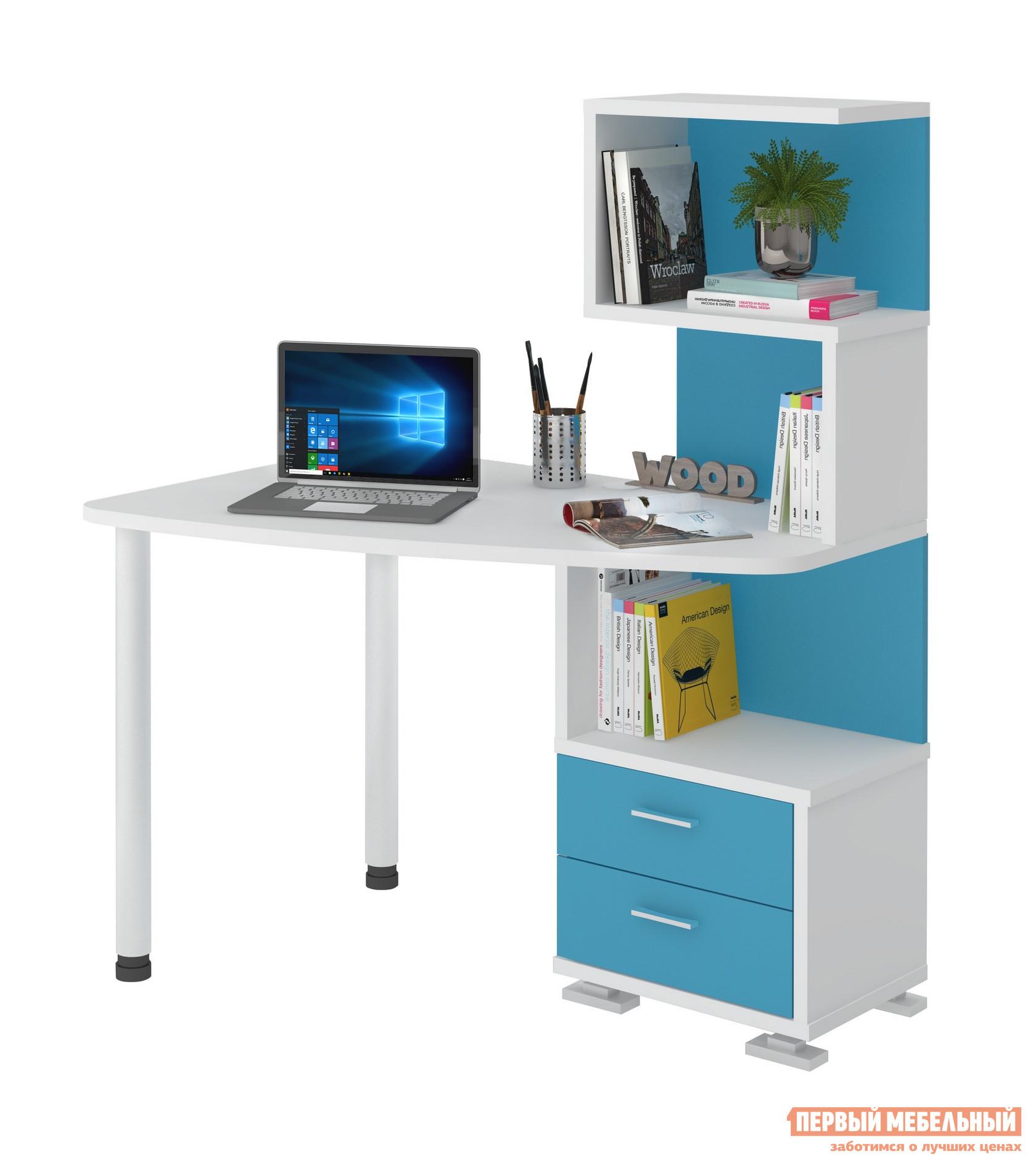 Компьютерный стол Мэрдэс СКМ-60 Белый жемчуг / Синий мрамор, Левый