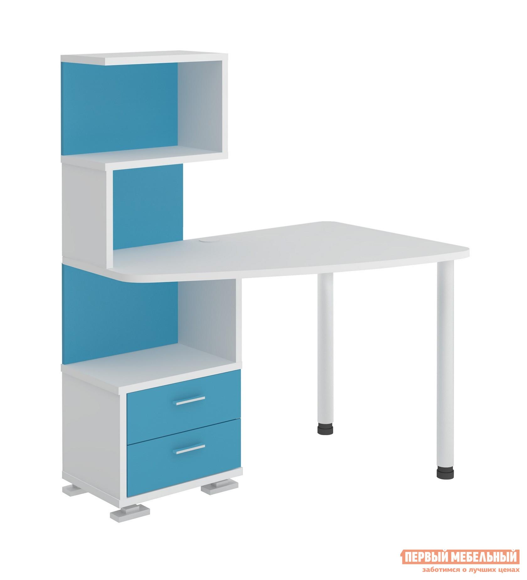 Угловой компьютерный стол с надстройкой и ящиками полярис мр.