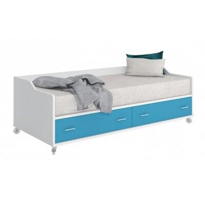 Детская кровать Мэрдэс КР-5 Белый жемчуг / Синий мрамор, Без матраса