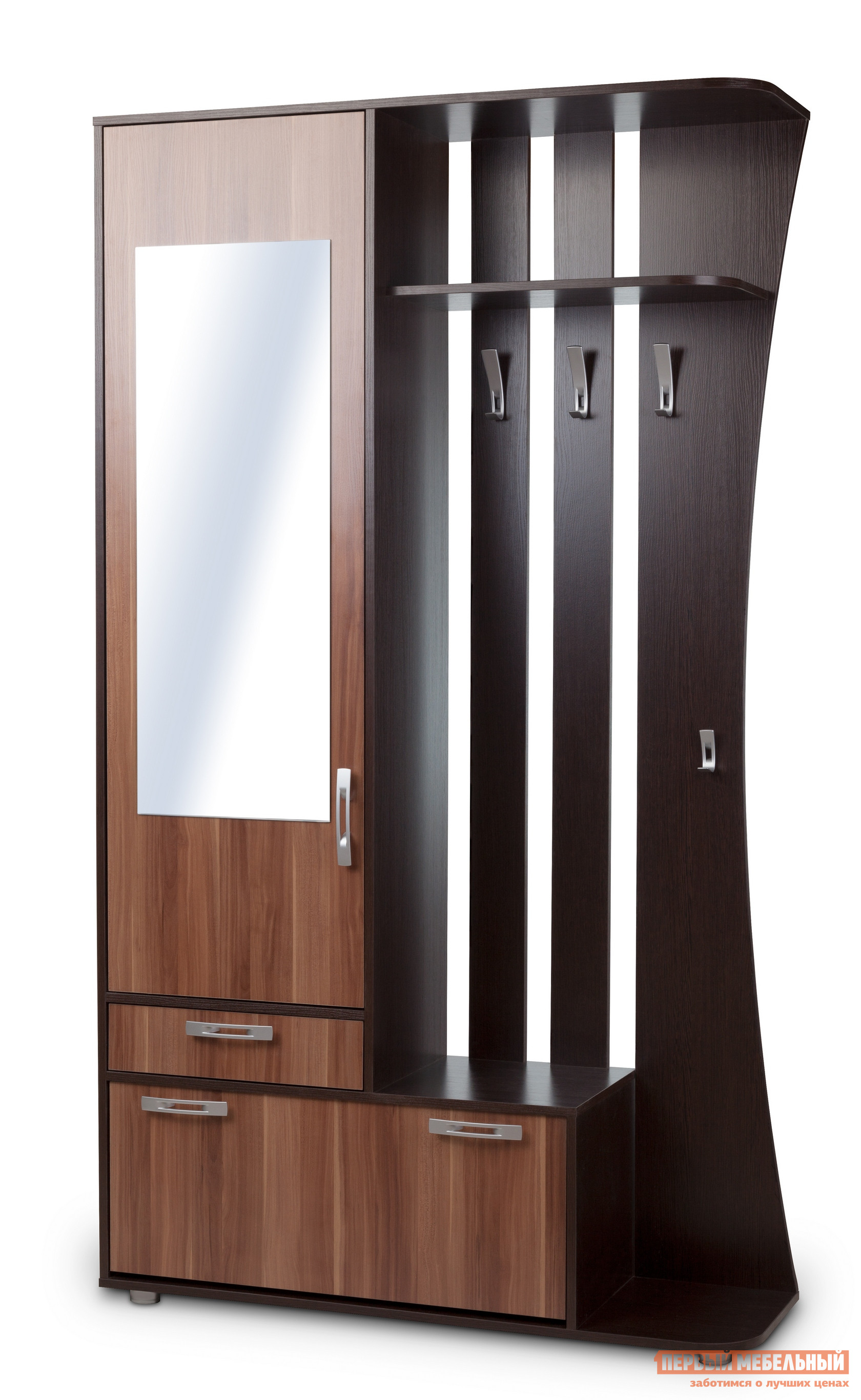 Прихожая Вентал Классик Венге / Слива ВаллисПрихожие в коридор<br>Габаритные размеры ВхШхГ 2140x1200x370 мм. Компактная, но выполняющая все необходимые функции, прихожая.  Включает в себя: два выдвижных ящика, шкаф для верхних вещей с зеркалом на дверце, вешалку с крючками для сезонной одежды и зонтика с ручкой, полку для хранения головных уборов. Ящики  в прихожей разной величины: один предназначен для хранения шарфов, перчаток или домашних мелочей, другой представляет из себя обувницу с двумя горизонтальными отсеками для обуви. Прихожая универсальна при сборке, зеркало может быть расположено с любой стороны.  Изготовлен из качественной ЛДСП, кант мебели обработан ПВХ. Размер зеркала составляет (ВхШ): 1000 х 370 мм.<br><br>Цвет: Венге / Слива Валлис<br>Цвет: Коричневое дерево<br>Высота мм: 2140<br>Ширина мм: 1200<br>Глубина мм: 370<br>Кол-во упаковок: 2<br>Форма поставки: В разобранном виде<br>Срок гарантии: 2 года<br>Тип: Прямые<br>Характеристика: Немодульные<br>Материал: из ЛДСП<br>Размер: Маленькие, Глубиной до 40 см, Глубиной до 45 см, Шириной до 120 см, Шириной до 130 см, Шириной до 140 см<br>Особенности: С зеркалом, С открытой вешалкой, На ножках, С обувницей, Со шкафом, С распашным шкафом<br>Стиль: Современный