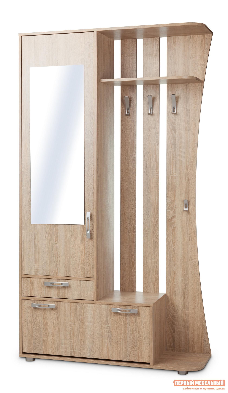 Прихожая Вентал Классик Дуб СономаПрихожие в коридор<br>Габаритные размеры ВхШхГ 2140x1200x370 мм. Компактная, но выполняющая все необходимые функции, прихожая.  Включает в себя: два выдвижных ящика, шкаф для верхних вещей с зеркалом на дверце, вешалку с крючками для сезонной одежды и зонтика с ручкой, полку для хранения головных уборов. Ящики  в прихожей разной величины: один предназначен для хранения шарфов, перчаток или домашних мелочей, другой представляет из себя обувницу с двумя горизонтальными отсеками для обуви.  Изготовлен из качественной ЛДСП, кант мебели обработан ПВХ. Размер зеркала составляет (ВхШ): 1000 х 370 мм.<br><br>Цвет: Дуб Сонома<br>Цвет: Светлое дерево<br>Высота мм: 2140<br>Ширина мм: 1200<br>Глубина мм: 370<br>Кол-во упаковок: None<br>Форма поставки: В разобранном виде<br>Срок гарантии: 2 года<br>Тип: Прямые<br>Материал: из ЛДСП<br>Размер: Маленькие<br>Особенности: С зеркалом, С открытой вешалкой, На ножках, Со шкафом, С распашным шкафом