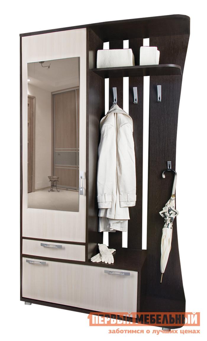Прихожая Вентал Классик Венге/ Беленый дубПрихожие в коридор<br>Габаритные размеры ВхШхГ 2140x1200x370 мм. Компактная, но выполняющая все необходимые функции, прихожая.  Включает в себя: два выдвижных ящика, шкаф для верхних вещей с зеркалом на дверце, вешалку с крючками для сезонной одежды и зонтика с ручкой, полку для хранения головных уборов. Ящики  в прихожей разной величины: один предназначен для хранения шарфов, перчаток или домашних мелочей, другой представляет из себя обувницу с двумя горизонтальными отсеками для обуви. Прихожая универсальна при сборке, зеркало может быть расположено с любой стороны.  Изготовлен из качественной ЛДСП, кант мебели обработан ПВХ. Размер зеркала составляет (ВхШ): 1000 х 370 мм.<br><br>Цвет: Темное-cветлое дерево<br>Высота мм: 2140<br>Ширина мм: 1200<br>Глубина мм: 370<br>Кол-во упаковок: 2<br>Форма поставки: В разобранном виде<br>Срок гарантии: 2 года<br>Тип: Прямые<br>Характеристика: Немодульные<br>Материал: ЛДСП<br>Размер: Маленькие<br>Размер: Глубина до 40 см<br>Размер: Глубина до 45 см<br>Размер: Ширина до 120 см<br>Размер: Ширина до 130 см<br>Размер: Ширина до 140 см<br>С зеркалом: Да<br>С открытой вешалкой: Да<br>На ножках: Да<br>С обувницей: Да<br>Со шкафом: Да<br>С распашным шкафом: Да<br>Стиль: Современный