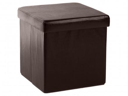 Кожаный пуф квадратный