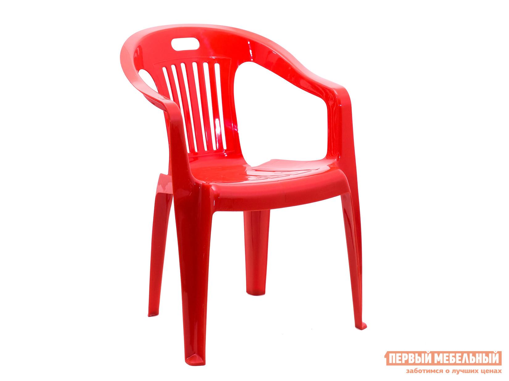 Пластиковый стул Стандарт Пластик Кресло №5 Комфорт-1 (540x535x780мм) КрасныйПластиковые стулья<br>Габаритные размеры ВхШхГ 780x540x535 мм. Пластиковое кресло Комфорт простое и практичное.  Оформление спинки кресла обеспечивает отличную вентиляцию, благодаря этому в нем удобно сидеть даже в жаркую погоду.  Также спинка оснащена прорезью для удобной транспортировки кресла.  Изделие оборудовано подлокотниками, их функциональное назначение – сделать пребывание в кресле максимально удобным и приятным. Высота изделия от пола до сиденья составляет 37 см. Пластиковая мебель уникальна сочетанием таких качеств, как повышенная прочность (легко выдерживает нагрузку до 120 кг) и предельная легкость (чуть больше 2 кг).  Мебельные изделия демократичны, хорошо подходят для меблировки дачи, зоны отдыха или летнего кафе.  Пластиковая мебель не боится перепадов температур, повышенной влажности.  Такая мебель станет верным союзником в комфортном и гармоничном отдыхе.<br><br>Цвет: Красный<br>Высота мм: 780<br>Ширина мм: 540<br>Глубина мм: 535<br>Кол-во упаковок: 1<br>Форма поставки: В собранном виде<br>Срок гарантии: 1 год<br>С подлокотниками: Да