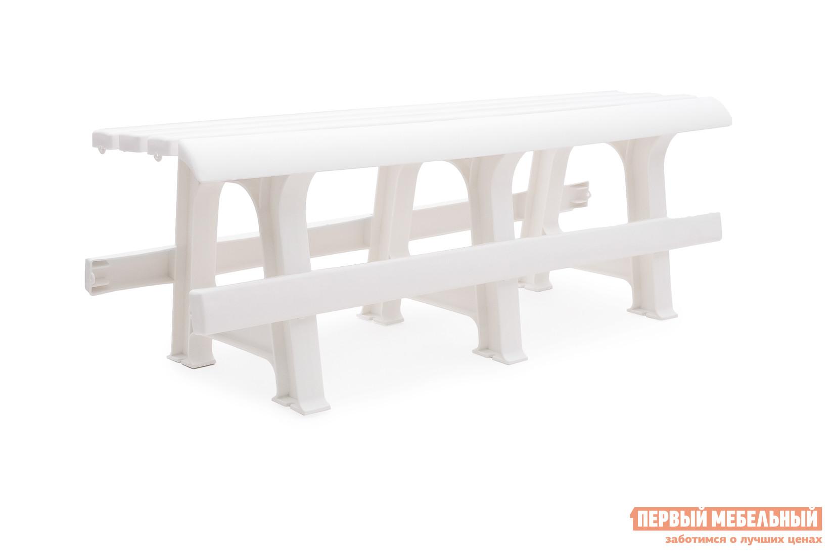 Скамейка Стандарт Пластик Скамья №3 (1200х400х420) мм БелыйСкамейки и лавочки<br>Габаритные размеры ВхШхГ 400x1200x420 мм. Пластиковая садовая скамья упрощенного дизайна, без спинки, станет гармоничным дополнением для загородного участка или сада.  Оформление сидения обеспечивает отличную вентиляцию, благодаря этому на скамье удобно сидеть даже в жаркую погоду.  Скамья отлично подойдет для установки за столом.  Мебельные изделия из пластика демократичны, хорошо подходят для меблировки дачи, зоны отдыха или летнего кафе.  Скамья обладает хорошей прочностью и выдержит нагрузку до 250 кг.  Пластиковая мебель не боится перепадов температур, повышенной влажности.  Такая мебель станет верным союзником в комфортном и гармоничном отдыхе.<br><br>Цвет: Белый<br>Высота мм: 400<br>Ширина мм: 1200<br>Глубина мм: 420<br>Кол-во упаковок: 1<br>Форма поставки: В собранном виде<br>Срок гарантии: 1 год<br>Тип: Без спинки<br>Назначение: Для дачи<br>Назначение: Для сада<br>Материал: Пластик<br>Размер: Маленькие<br>Размер: Узкие<br>Без подлокотников: Да