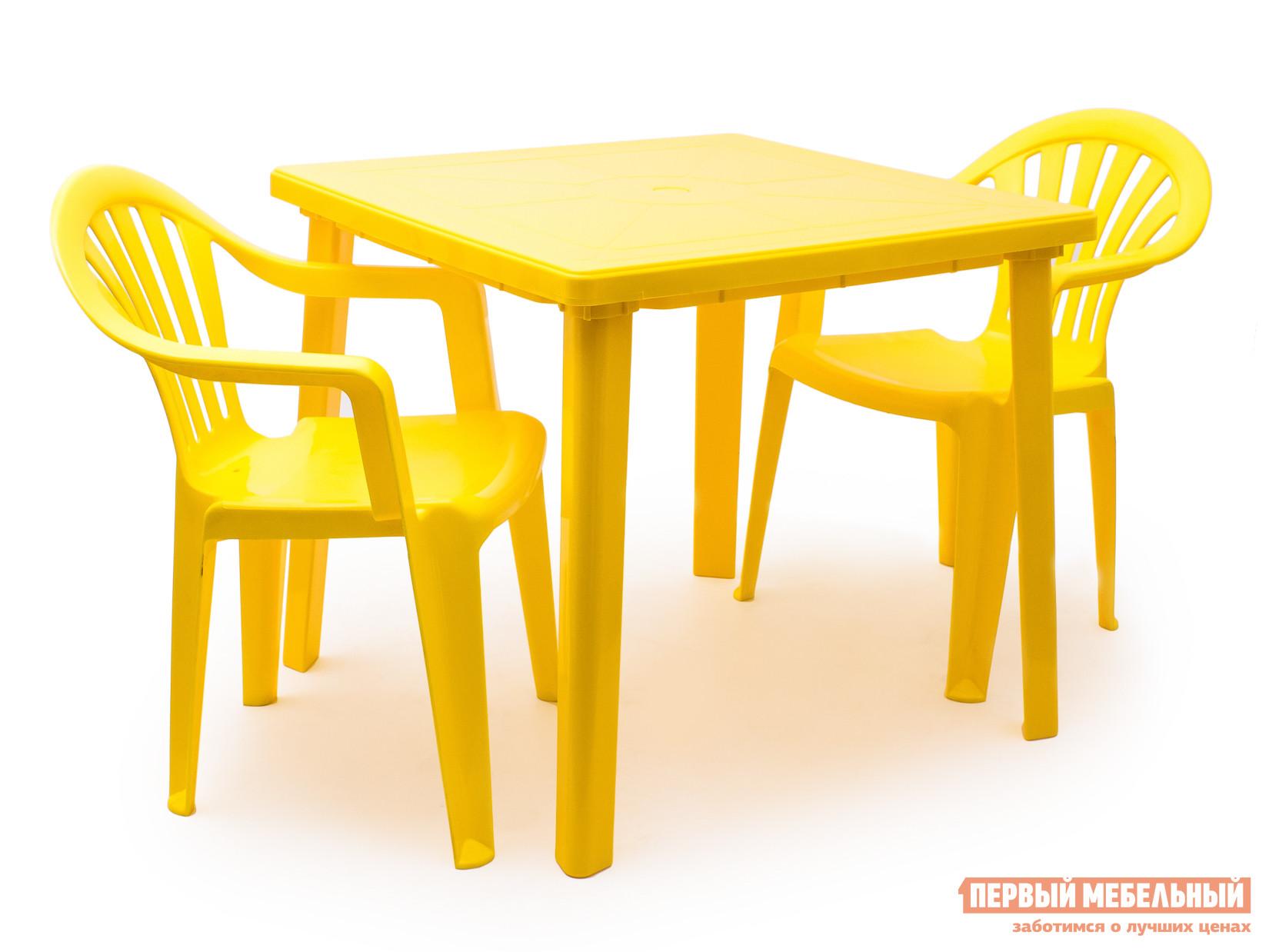 Набор пластиковой мебели Стандарт Пластик Стол квадратный (800х800х710) + Кресло №1 Пальма-1 (560х550х770мм), 2 шт. ЖелтыйНаборы пластиковой мебели<br>Габаритные размеры ВхШхГ xx мм. Для теплых бесед тет-а-тет в тенистом саду или на морском побережье подойдет замечательный комплект из трех предметов Спинт-1 + Пальма-1.  Гарнитур представляет собой квадратный стол размером (ВхШхГ): 710 х 800 х 800 мм и два кресла размером (ВхШхГ): 770 х 560 х 550 мм. Такой комплект очень практичен в использовании.  Ведь он не боится ни солнечного света, ни летних дождей.  Поверхность легко очищается мягкой тряпочкой, а хранение в не сезон весьма удобно.  Стулья стопируются, а у стола снимаются ножки.<br><br>Цвет: Желтый<br>Кол-во упаковок: 3<br>Форма поставки: В разобранном виде<br>Срок гарантии: 1 год<br>Тип: На 2 персоны