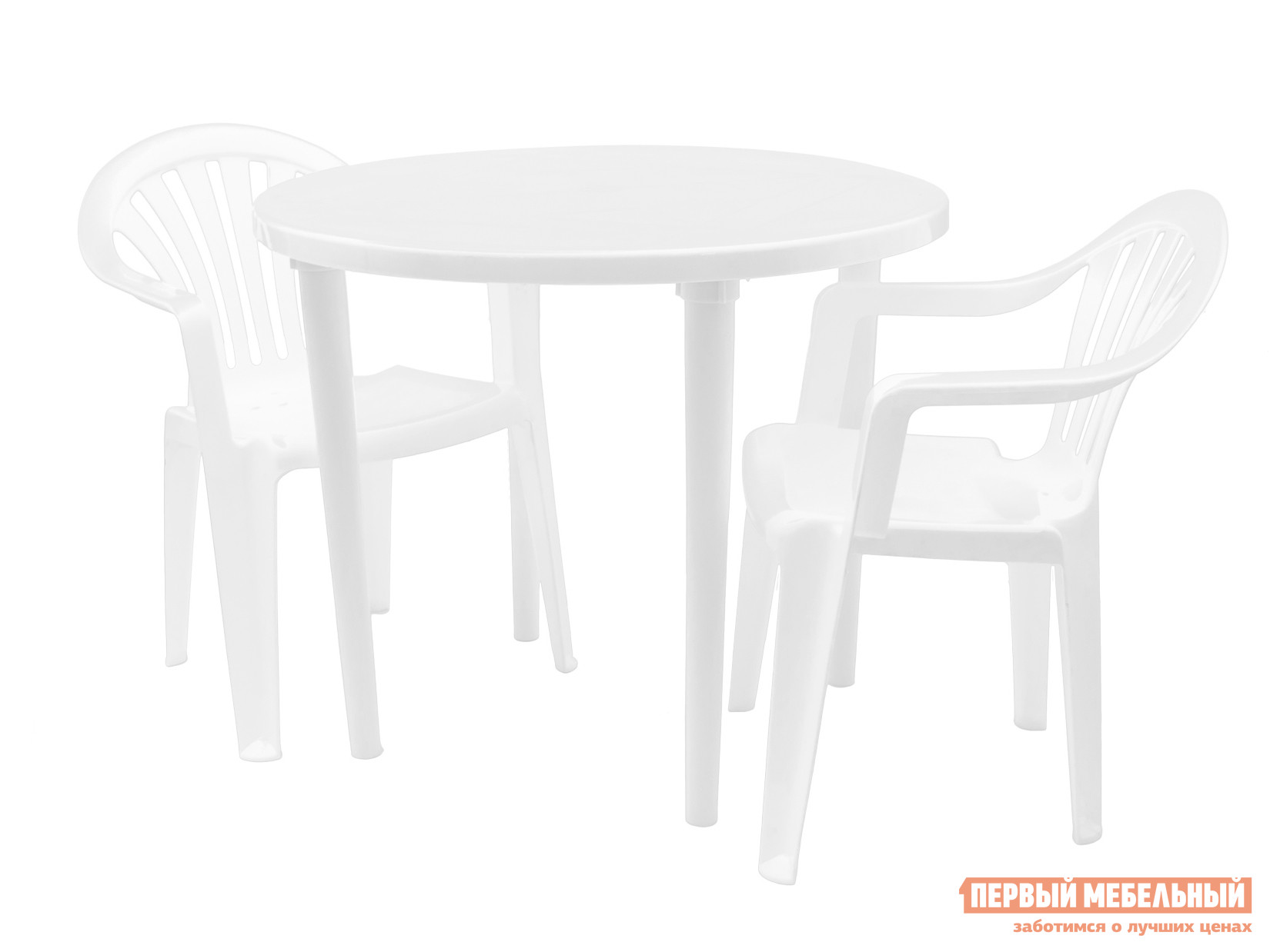 Набор пластиковой мебели Стандарт Пластик Стол круглый, д. 900 мм+Кресло №1 Пальма-1 (560х550х770мм), 4 шт БелыйНаборы пластиковой мебели<br>Габаритные размеры ВхШхГ xx мм. Практичность комплекта пластиковой мебели Рикул + Пальма-1 очаровывает с первого взгляда.  В гарнитуре три предмета.  Это удобный круглый стол размером (ВхШхГ): 710 х 900 х 900 мм и два комфортабельных кресла с резной спинкой (ВхШхГ): 770 х 560 х 550 мм.  Стол разборный — в зимнее время он хранится без ножек.  В столешнице предусмотрено отверстие для установки солнцезащитного зонта.  Кресла удобны и легки.  Они изготавливаются из цельнолитого пластика и выдерживают существенную нагрузку до 120 кг.  Когда кресла не используются, их можно стопировать друг на друга. Приобрести все необходимое для организации комфортного загородного отдыха вы можете в интернет-магазине «Купистол».<br><br>Цвет: Белый<br>Кол-во упаковок: 3<br>Форма поставки: В разобранном виде<br>Срок гарантии: 1 год<br>Тип: На 2 персоны