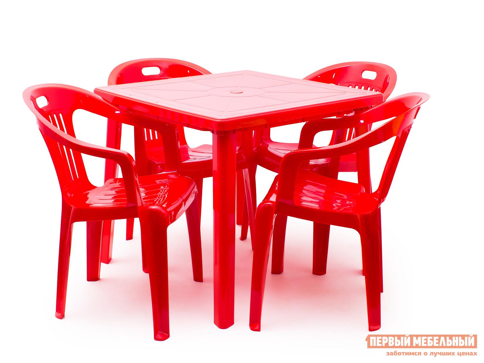 Набор пластиковой мебели Стандарт Пластик Стол квадратный (800х800х710) + Кресло №5 Комфорт-1 (540x535x780мм), 4 шт. КрасныйНаборы пластиковой мебели<br>Габаритные размеры ВхШхГ xx мм. Набор пластиковой мебели для организации дачного застолья на свежем воздухе.  Также такая мебель подойдет для уличных кафе. Каждое кресло рассчитано на максимальный вес 120 кг. Размеры элементов:Стол: 710 Х 800 Х 800 мм, вес 5 кг; Кресло: 780 Х 540 Х 535 мм, вес 2. 4 кг. Кресла поставляются в собранном виде.  Стол разобран – для сборки стола необходимо вкрутить ножки в столешницу.<br><br>Цвет: Красный<br>Кол-во упаковок: 5<br>Форма поставки: В собранном виде<br>Срок гарантии: 1 год<br>Тип: На 4 персоны