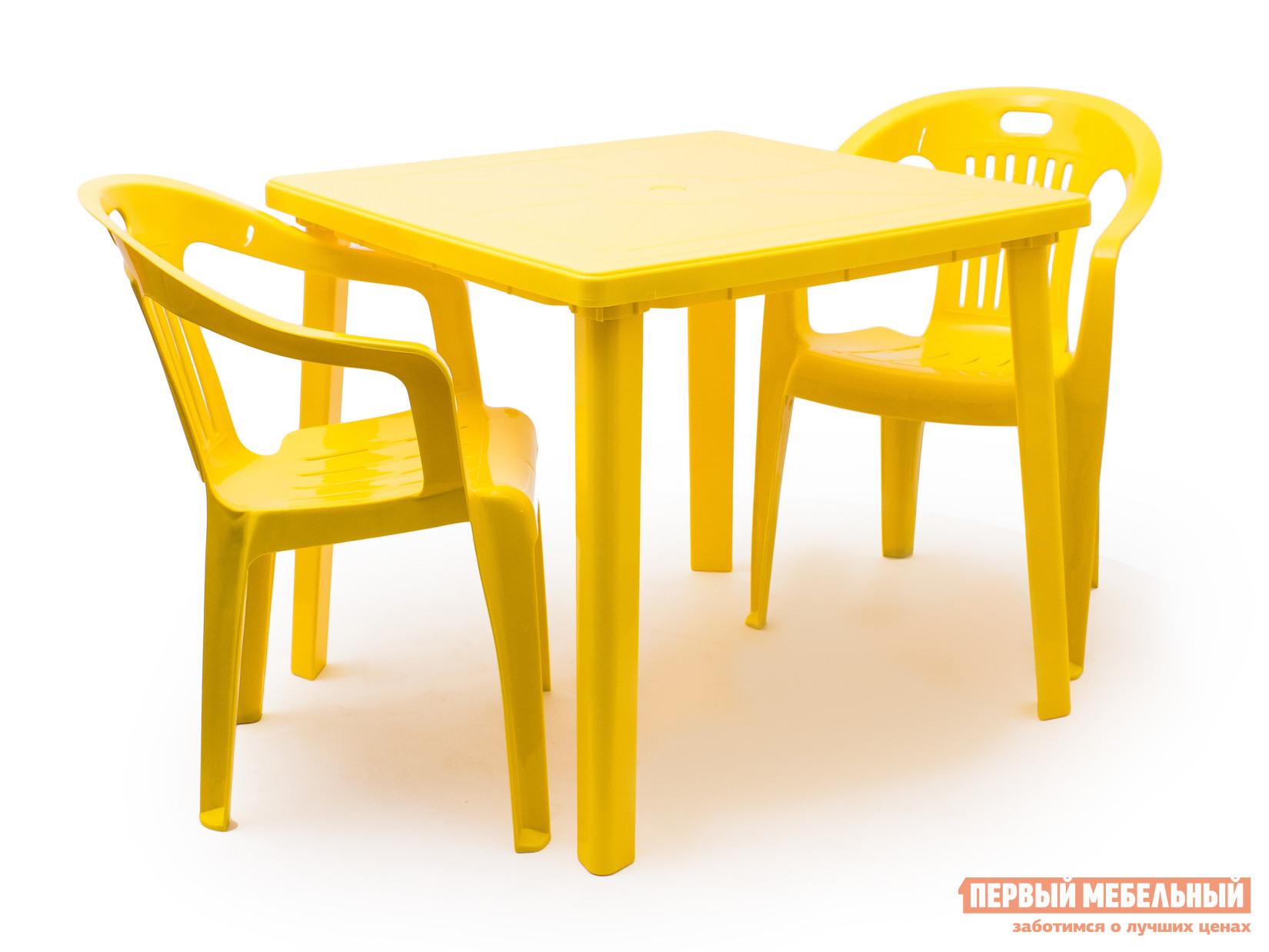 Набор пластиковой мебели Стандарт Пластик Стол квадратный (800х800х710) + Кресло №5 Комфорт-1 (540x535x780мм), 2 шт. ЖелтыйНаборы пластиковой мебели<br>Габаритные размеры ВхШхГ xx мм. Стол квадратный 800х800х710 + Кресло №5 Комфорт-1 образуют удобную обеденную группу для отдыха на даче, в летнем кафе или на пляже.  При необходимости можно заказать два дополнительных кресла и увеличить число сидячих мест. Пластиковая мебель отличается простотой в уходе и хранении.  Поэтому ее так часто выбирают в качестве летней мебели как для личного пользования, так и для общественных мест.  Мебель не выцветает, устойчива к жаркому солнцу и дождям.  Только ураганный ветер может причинить неудобства, так как вес мебели незначительный.<br><br>Цвет: Желтый<br>Кол-во упаковок: 3<br>Форма поставки: В разобранном виде<br>Срок гарантии: 1 год<br>Тип: На 2 персоны