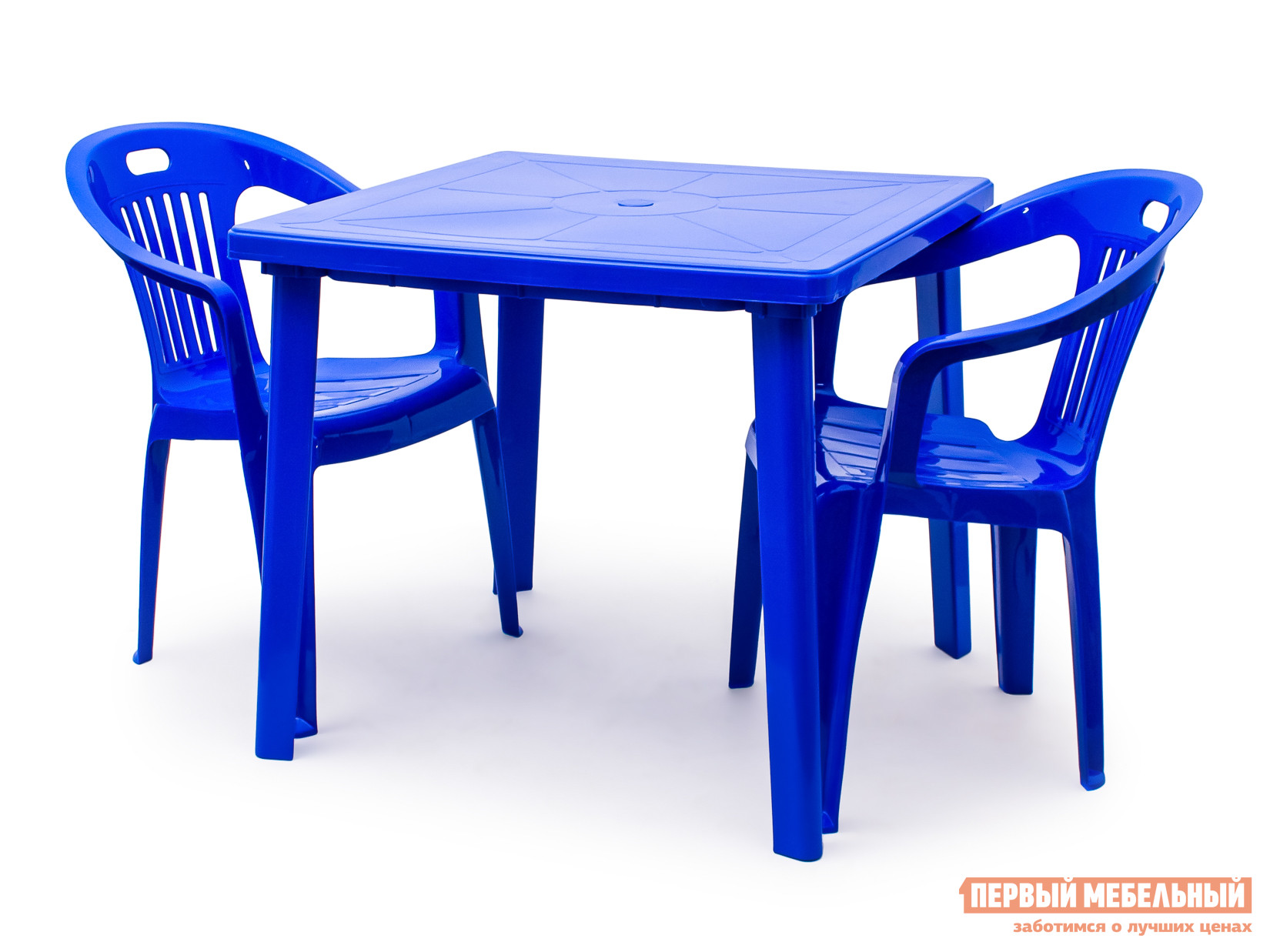 Набор пластиковой мебели Стандарт Пластик Стол квадратный (800х800х710) + Кресло №5 Комфорт-1 (540x535x780мм), 2 шт. СинийНаборы пластиковой мебели<br>Габаритные размеры ВхШхГ xx мм. Стол квадратный 800х800х710 + Кресло №5 Комфорт-1 образуют удобную обеденную группу для отдыха на даче, в летнем кафе или на пляже.  При необходимости можно заказать два дополнительных кресла и увеличить число сидячих мест. Пластиковая мебель отличается простотой в уходе и хранении.  Поэтому ее так часто выбирают в качестве летней мебели как для личного пользования, так и для общественных мест.  Мебель не выцветает, устойчива к жаркому солнцу и дождям.  Только ураганный ветер может причинить неудобства, так как вес мебели незначительный.<br><br>Цвет: Синий<br>Кол-во упаковок: 3<br>Форма поставки: В разобранном виде<br>Срок гарантии: 1 год<br>Тип: На 2 персоны