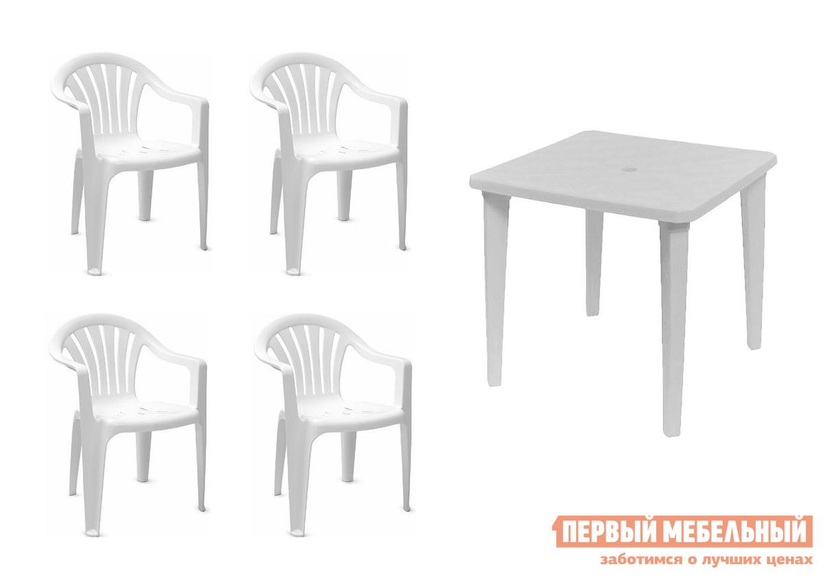 Набор пластиковой мебели Стандарт Пластик Стол квадратный (800х800х710) + Кресло №1 Пальма-1 (560х550х770мм), 4 шт. БелыйНаборы пластиковой мебели<br>Габаритные размеры ВхШхГ xx мм. Набор пластиковой мебели для организации дачного застолья на свежем воздухе.  Также такая мебель подойдет для уличных кафе. Каждое кресло рассчитано на максимальный вес 120 кг. Размеры элементов:Стол: 710 Х 800 Х 800 мм, вес 5 кг; Кресло: 770 Х 560 Х 550 мм, вес 2. 4 кг. Кресла поставляются в собранном виде.  Стол разобран – для сборки стола необходимо вкрутить ножки в столешницу.<br><br>Цвет: Белый<br>Цвет: Белый<br>Кол-во упаковок: None<br>Форма поставки: В собранном виде<br>Срок гарантии: 1 год