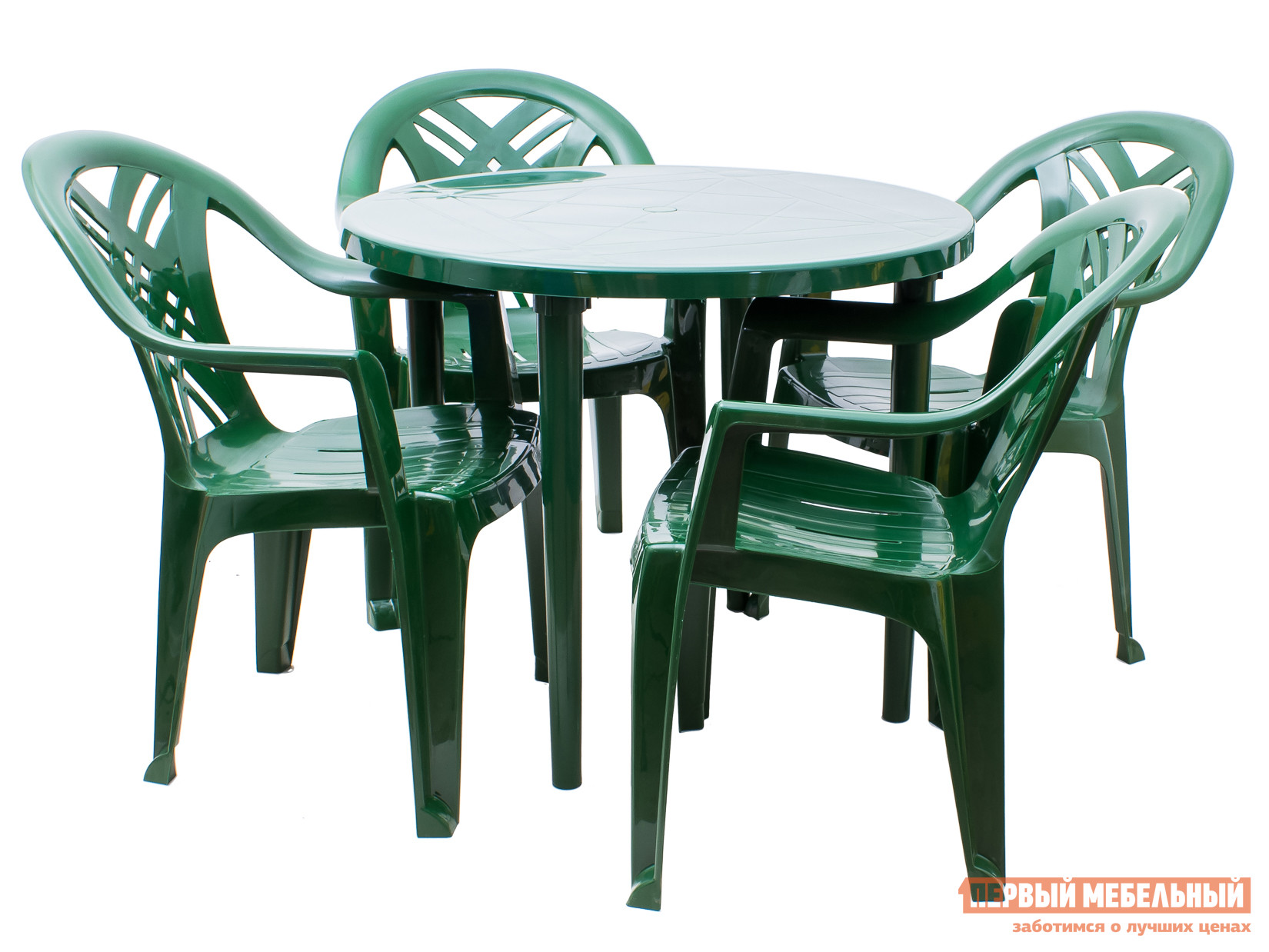 Набор пластиковой мебели Стандарт Пластик Стол круглый, д. 900 мм+Кресло №6 Престиж-2 (660x600x840мм), 4 шт. Темно-зеленыйНаборы пластиковой мебели<br>Габаритные размеры ВхШхГ xx мм. Что нужно для хорошего настроения на даче? Конечно же яркий набор пластиковой мебели «Престиж-2+Рикул», представляющий собой круглый стол диаметром 900 мм и четыре кресла с подлокотниками размером 660x600x840 мм.  Элементы комплекта лаконично смотрятся вместе, ведь они изготовлены из пластика одного цвета. Так как кресла могут использоваться при нагрузке до 120 кг, здесь могут спокойно отдыхать люди любой комплекции.  Стол представлен в размерах: 710 Х 900 Х 900 мм, вес 5 кг; Кресло: 840 Х 660 Х 600 мм, вес 2. 4 кг. Кресла поставляются в собранном виде.  Стол разобран – для сборки стола необходимо вкрутить ножки в столешницу.<br><br>Цвет: Зеленый<br>Кол-во упаковок: 5<br>Форма поставки: В разобранном виде<br>Срок гарантии: 1 год<br>Тип: На 4 персоны