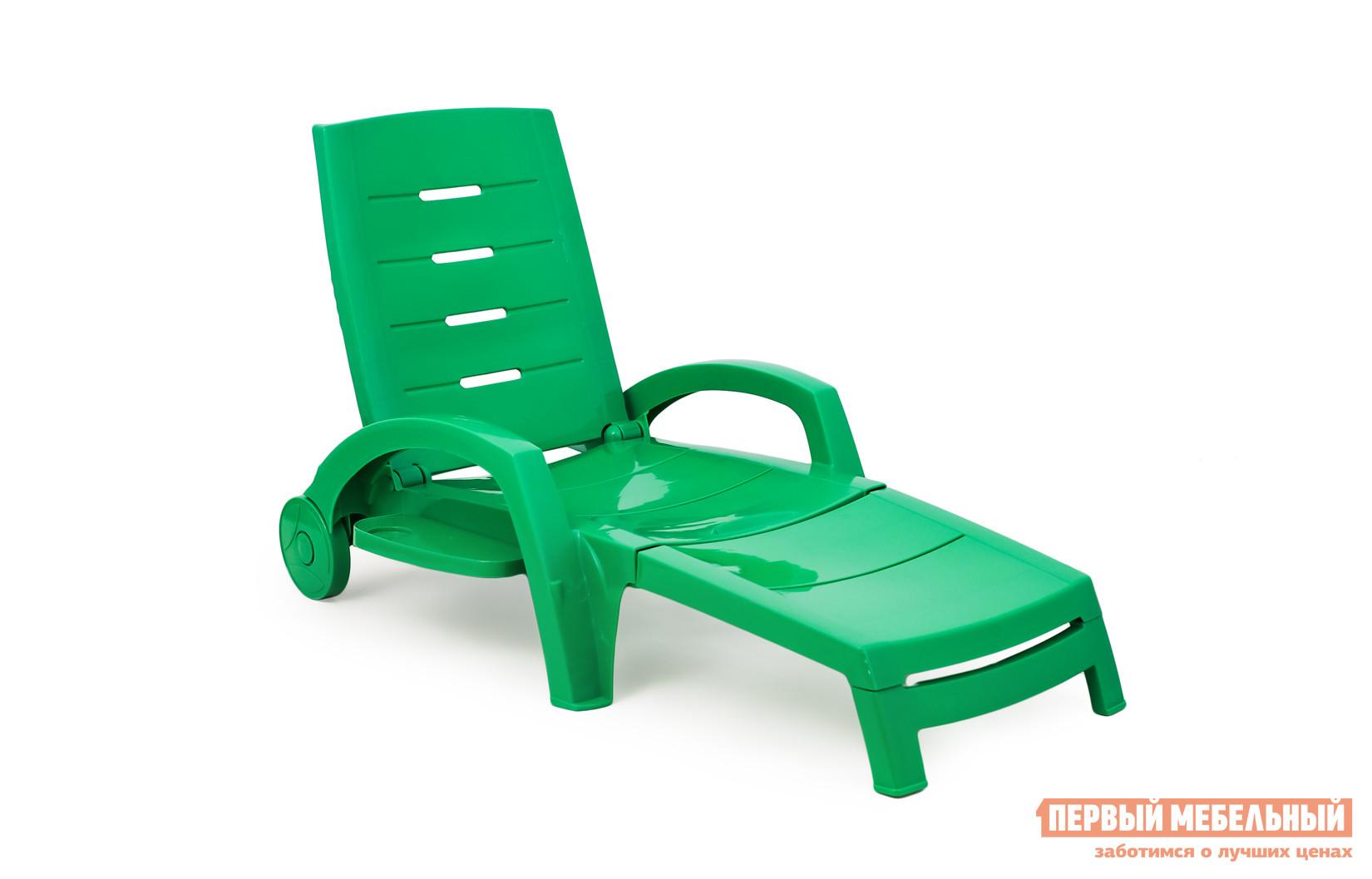 Шезлонг Стандарт Пластик Шезлонг складной на колесах (с ящиком) (1860x765x890мм) Зеленый