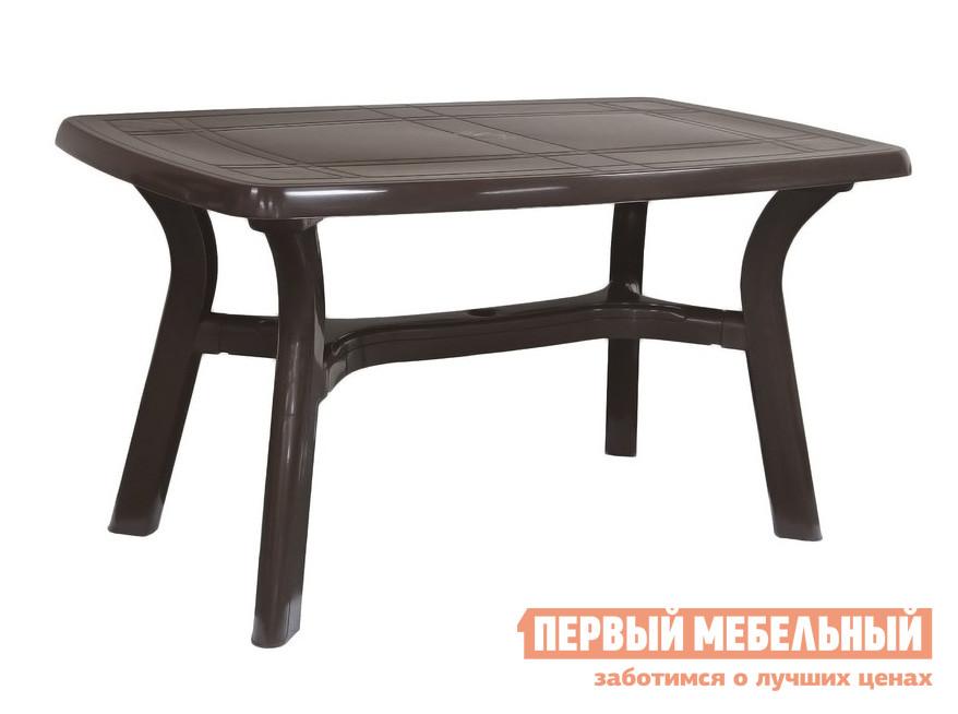 Пластиковый стол Стандарт Пластик Стол Премиум (1400x850x728мм) ШоколадныйПластиковые столы<br>Габаритные размеры ВхШхГ 728x1400x850 мм. Пластиковый прямоугольный стол универсальный и практичный.  Дизайн мебельного изделия разработан так, что его легко сочетать с другой мебелью.    Мебельные изделия из пластика демократичны, хорошо подходят для меблировки дачи, зоны отдыха или летнего кафе.  Пластиковая мебель не боится перепадов температур, повышенной влажности.  Такая мебель станет верным союзником в комфортном и гармоничном отдыхе. Диаметр отверстия для установки зонта составляет 5 см.<br><br>Цвет: Коричневый<br>Высота мм: 728<br>Ширина мм: 1400<br>Глубина мм: 850<br>Кол-во упаковок: 1<br>Форма поставки: В разобранном виде<br>Срок гарантии: 1 год<br>Форма: Прямоугольные<br>Размер: Большие