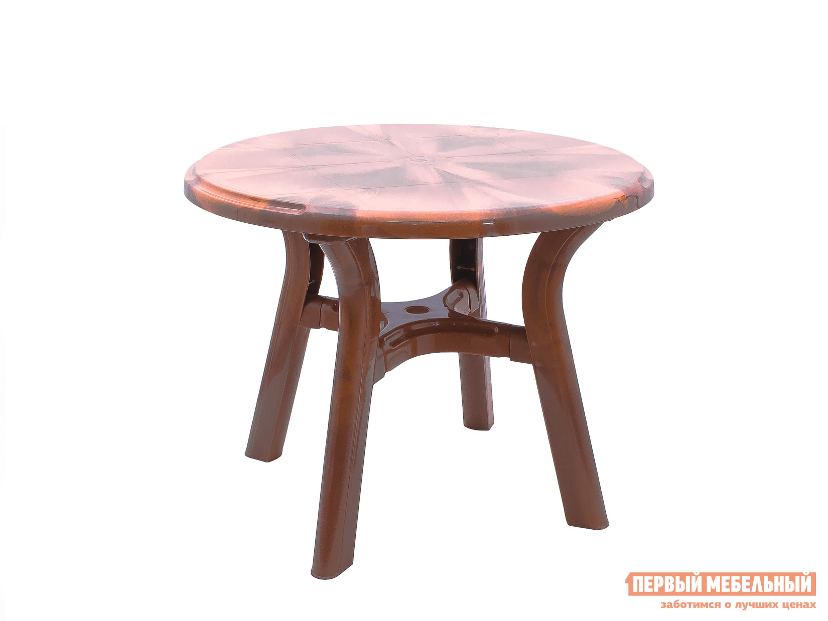 Пластиковый стол Стандарт Пластик Стол круглый Премиум д940 мм Лессир Лессир Мербау (коричневый)Пластиковые столы<br>Габаритные размеры ВхШхГ 728x940x940 мм. Круглый пластиковый стол Лессир имеет большую столешницу диаметром 940 мм.  Круглая форма практичнее, так как за ней можно рассадить больше персон, чем за квадратным столом такой же площадью. Столик Лессир выделяется благодаря необычному оформлению в коричневом цвете с мраморно-древесной текстурой.  Модель можно использовать на садовом участке, а также она удачно впишется в интерьер летнего уличного кафе.  Преимущество пластиковой мебели в ее универсальности, изделия прекрасно переносят различные погодные условия и готовы служить долгий срок.<br><br>Цвет: Коричневый<br>Высота мм: 728<br>Ширина мм: 940<br>Глубина мм: 940<br>Кол-во упаковок: 1<br>Форма поставки: В разобранном виде<br>Срок гарантии: 1 год<br>Форма: Круглые<br>Размер: Большие