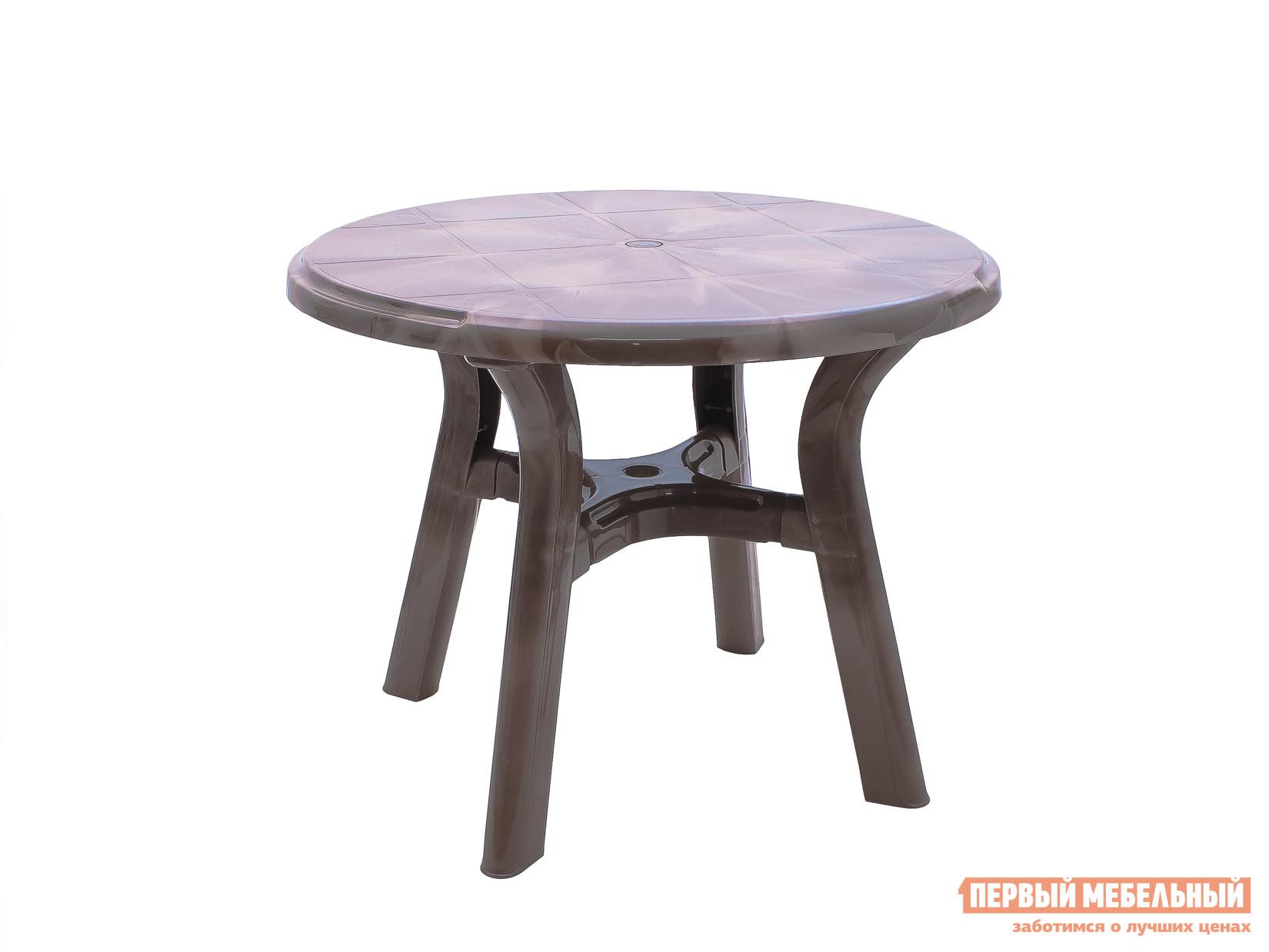 Пластиковый стол Стандарт Пластик Стол круглый Премиум д940 мм Лессир Лессир Макоре (коричневый/бежевый)Пластиковые столы<br>Габаритные размеры ВхШхГ 728x940x940 мм. Круглый пластиковый стол Лессир имеет большую столешницу диаметром 940 мм.  Круглая форма практичнее, так как за ней можно рассадить больше персон, чем за квадратным столом такой же площадью. Столик Лессир выделяется благодаря необычному оформлению в коричневом цвете с мраморно-древесной текстурой.  Модель можно использовать на садовом участке, а также она удачно впишется в интерьер летнего уличного кафе.  Преимущество пластиковой мебели в ее универсальности, изделия прекрасно переносят различные погодные условия и готовы служить долгий срок.<br><br>Цвет: Коричневый<br>Цвет: Бежевый<br>Высота мм: 728<br>Ширина мм: 940<br>Глубина мм: 940<br>Кол-во упаковок: 1<br>Форма поставки: В разобранном виде<br>Срок гарантии: 1 год<br>Форма: Круглые<br>Размер: Большие