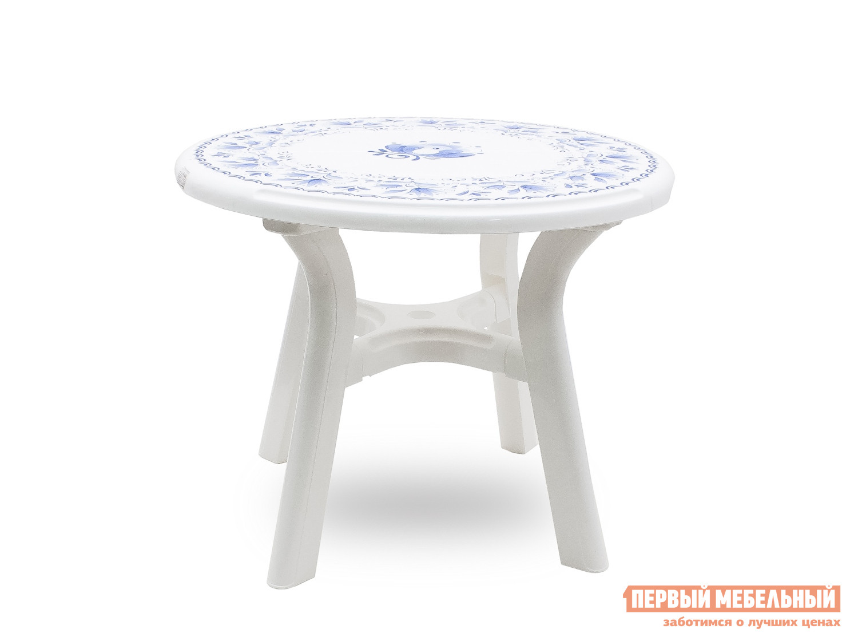 Пластиковый стол Стандарт Пластик Стол круглый «Премиум» с деколем «Гжель» д. 940 мм Белый, Гжель