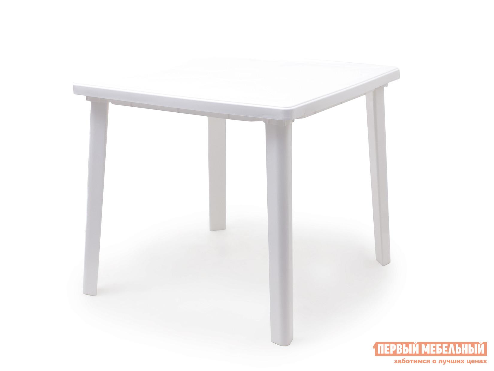 Пластиковый стол Стандарт Пластик Стол квадратный (800х800х710) БелыйПластиковые столы<br>Габаритные размеры ВхШхГ 710x800x800 мм. Пластиковый квадратный стол удобный и легкий, выполнен в лаконичном стиле.  Стол отличается прочностью и надежен в эксплуатации.  Дизайн мебельного изделия разработан так, что его легко сочетать с другой мебелью.  Так же конструкцией стола предусмотрено отверстие для зонта с заглушкой.   Мебельные изделия из пластика демократичны, хорошо подходят для меблировки дачи, зоны отдыха или летнего кафе.  Пластиковая мебель не боится перепадов температур, повышенной влажности.  Такая мебель станет верным союзником в комфортном и гармоничном отдыхе.<br><br>Цвет: Белый<br>Высота мм: 710<br>Ширина мм: 800<br>Глубина мм: 800<br>Кол-во упаковок: 1<br>Форма поставки: В разобранном виде<br>Срок гарантии: 1 год<br>Форма: Квадратные<br>Размер: Маленькие
