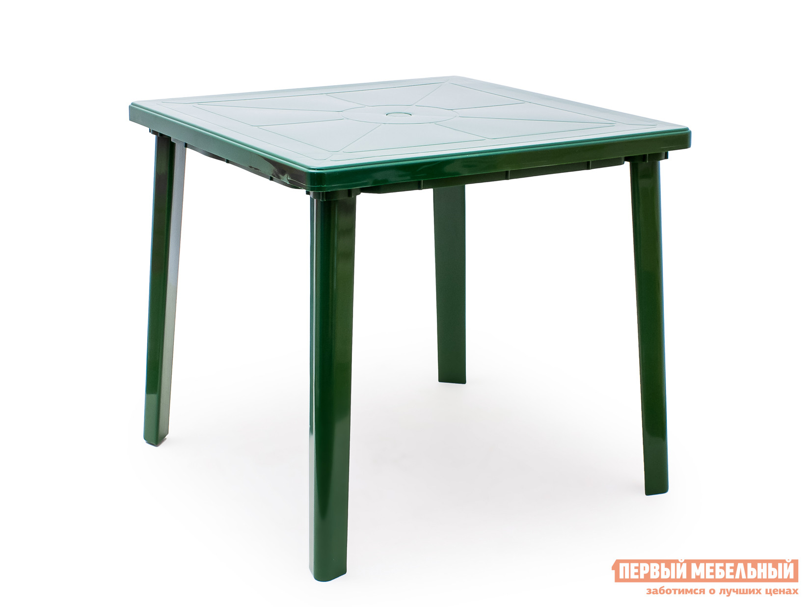 Пластиковый стол Стандарт Пластик Стол квадратный (800х800х710) Темно-зеленыйПластиковые столы<br>Габаритные размеры ВхШхГ 710x800x800 мм. Пластиковый квадратный стол удобный и легкий, выполнен в лаконичном стиле.  Стол отличается прочностью и надежен в эксплуатации.  Дизайн мебельного изделия разработан так, что его легко сочетать с другой мебелью.  Так же конструкцией стола предусмотрено отверстие для зонта с заглушкой.   Мебельные изделия из пластика демократичны, хорошо подходят для меблировки дачи, зоны отдыха или летнего кафе.  Пластиковая мебель не боится перепадов температур, повышенной влажности.  Такая мебель станет верным союзником в комфортном и гармоничном отдыхе.<br><br>Цвет: Зеленый<br>Высота мм: 710<br>Ширина мм: 800<br>Глубина мм: 800<br>Кол-во упаковок: 1<br>Форма поставки: В разобранном виде<br>Срок гарантии: 1 год<br>Форма: Квадратные<br>Размер: Маленькие