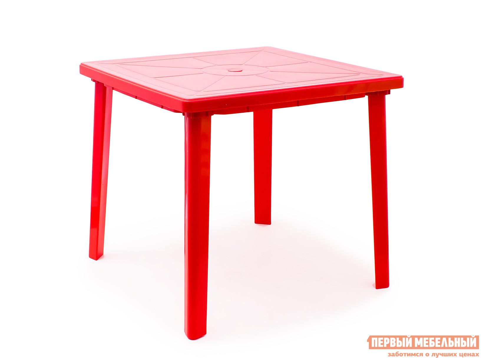 Пластиковый стол Стандарт Пластик Стол квадратный (800х800х710) КрасныйПластиковые столы<br>Габаритные размеры ВхШхГ 710x800x800 мм. Пластиковый квадратный стол удобный и легкий, выполнен в лаконичном стиле.  Стол отличается прочностью и надежен в эксплуатации.  Дизайн мебельного изделия разработан так, что его легко сочетать с другой мебелью.  Так же конструкцией стола предусмотрено отверстие для зонта с заглушкой.   Мебельные изделия из пластика демократичны, хорошо подходят для меблировки дачи, зоны отдыха или летнего кафе.  Пластиковая мебель не боится перепадов температур, повышенной влажности.  Такая мебель станет верным союзником в комфортном и гармоничном отдыхе.<br><br>Цвет: Красный<br>Высота мм: 710<br>Ширина мм: 800<br>Глубина мм: 800<br>Кол-во упаковок: 1<br>Форма поставки: В разобранном виде<br>Срок гарантии: 1 год<br>Форма: Квадратные<br>Размер: Маленькие