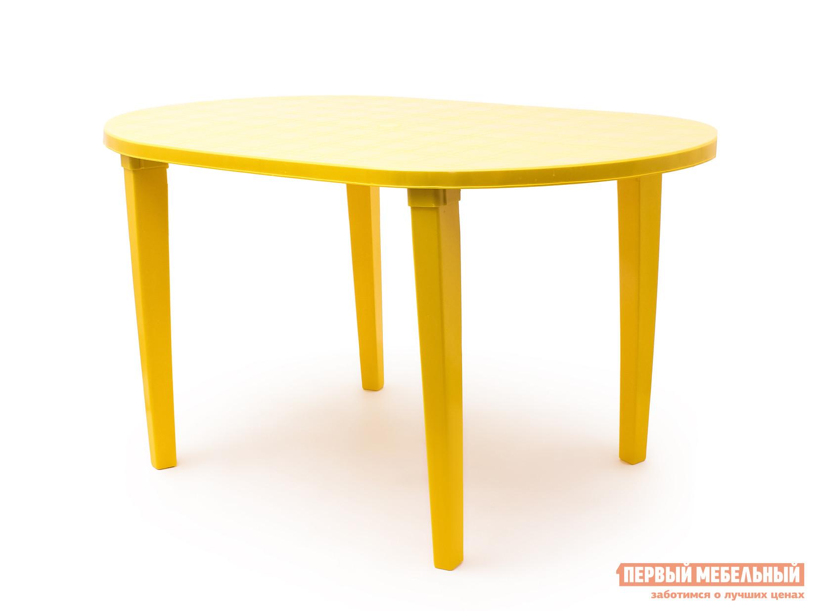 Пластиковый стол Стандарт Пластик Стол овальный (1400х800х710) мм ЖелтыйПластиковые столы<br>Габаритные размеры ВхШхГ 710x1400x800 мм. Овальный пластиковый стол для дачи обладает преимуществами круглого и прямоугольного стола — он вместительный и не содержит острых углов.  Дизайн мебельного изделия разработан так, что его легко сочетать с другой мебелью.    Мебельные изделия из пластика демократичны, хорошо подходят для меблировки дачи, зоны отдыха или летнего кафе.  Пластиковая мебель не боится перепадов температур, повышенной влажности.  Такая мебель станет верным союзником в комфортном и гармоничном отдыхе.<br><br>Цвет: Желтый<br>Высота мм: 710<br>Ширина мм: 1400<br>Глубина мм: 800<br>Кол-во упаковок: 1<br>Форма поставки: В разобранном виде<br>Срок гарантии: 1 год<br>Форма: Овальные<br>Размер: Большие