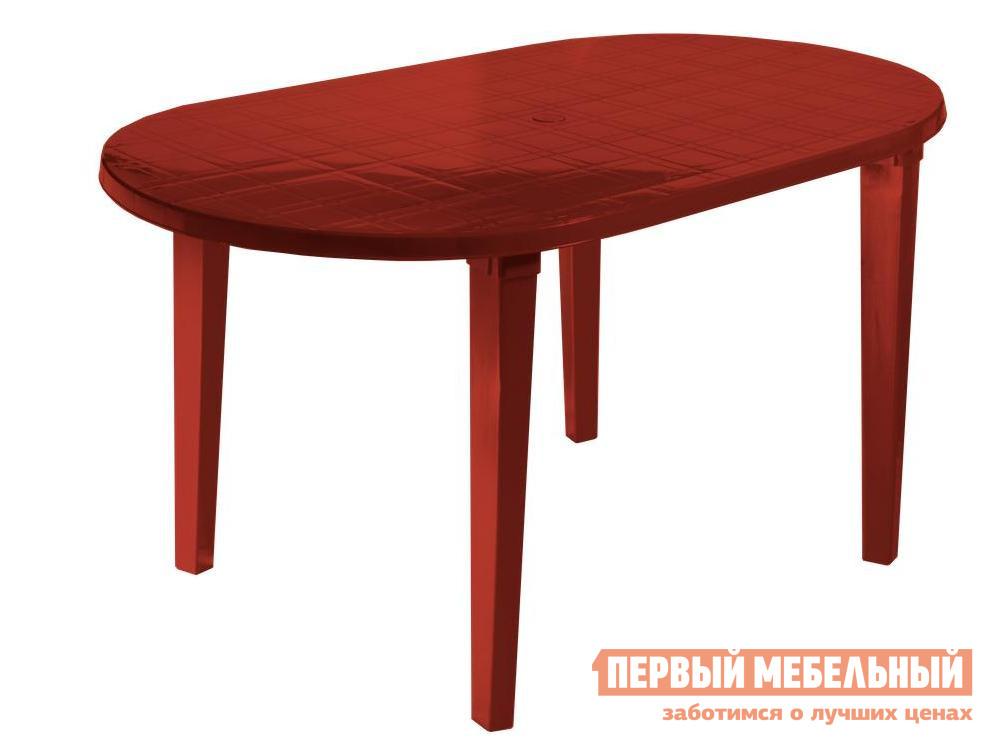 Пластиковый стол Стандарт Пластик Стол овальный (1400х800х710) мм Красный