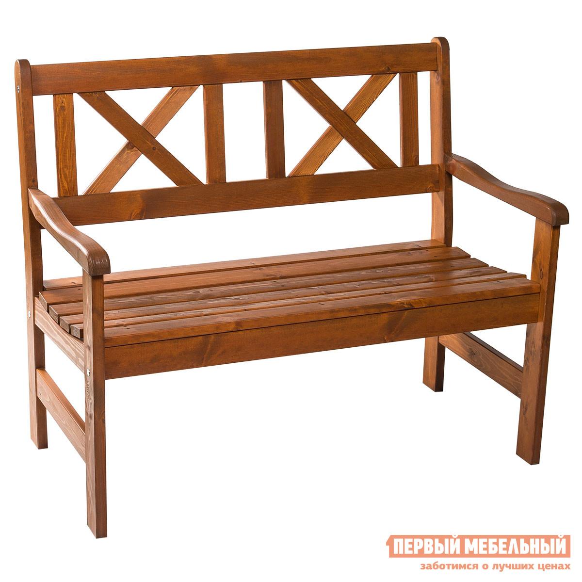 Деревянная скамейка со спинкой для дачи Шведская линия 552022 Скамья 2х Europe