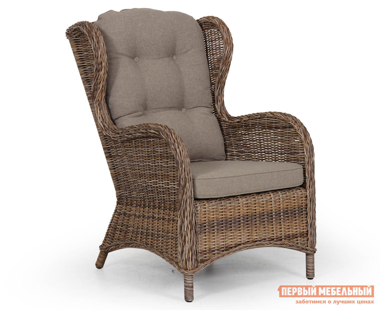 Плетеное кресло Brafab Evita 5641-62 Ротанг коричневыйПлетеные стулья и кресла<br>Габаритные размеры ВхШхГ 1020x660x610 мм. Кто сказал, что на даче должна быть только старая, надоевшая мебель? Интернет-магазин «Купистол» рекомендует обновлять дачную мебель так, чтобы она приносила эстетическое удовольствие. Плетеное кресло «Evita 5641-62» из искусственного ротанга с крепким, но легким внутренним миром в виде алюминиевого каркаса привнесёт элегантности и загадочности любому садовому участку или террасе.   Обратите внимание,  большая подушка на сиденье не входит в комплект, ее необходимо приобретать отдельно.<br><br>Цвет: Коричневый<br>Высота мм: 1020<br>Ширина мм: 660<br>Глубина мм: 610<br>Форма поставки: В собранном виде<br>Срок гарантии: 1 год<br>Тип: Плетеная<br>Материал: Искусственный ротанг<br>Материал: Ротанг<br>С подлокотниками: Да<br>С жестким сиденьем: Да<br>С подушкой: Да