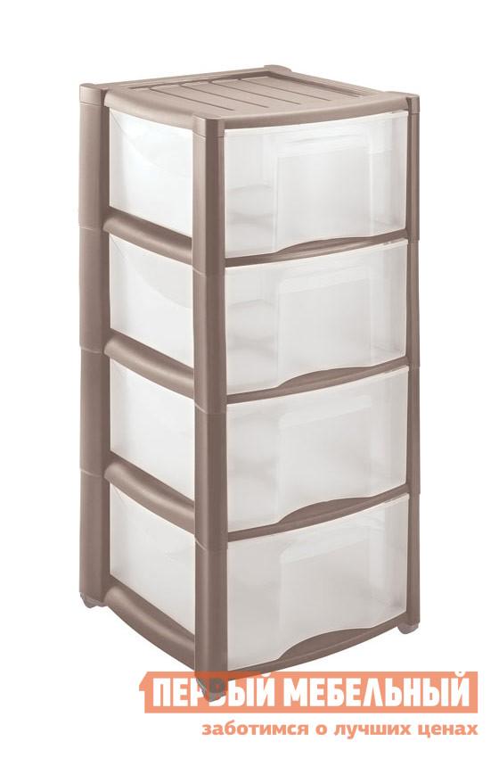 Комод Бытпласт 4312425 Серый (табак)Комоды<br>Габаритные размеры ВхШхГ 785x390x370 мм. Вместительный пластиковый комод с четырьмя ящиками.  Практичный вариант для хранения самых разных предметов и мелочей дома, на даче, в детской комнате для игрушек или в гараже для инструментов.  Удобная модель для организации порядка в ванной комнате или на лоджии.  Комод оборудован съемными колесиками для легкого перемещения его в пространстве. Изготавливается из полипропилена.<br><br>Цвет: Серый (табак)<br>Цвет: Коричневый<br>Высота мм: 785<br>Ширина мм: 390<br>Глубина мм: 370<br>Кол-во упаковок: 1<br>Форма поставки: В разобранном виде<br>Срок гарантии: 1 год<br>Тип: Прямые, Для белья, Для одежды<br>Назначение: В прихожую, Для посуды<br>Материал: Пластиковые<br>Размер: Маленькие, Узкие<br>Высота: Низкие<br>Глубина: Неглубокие<br>Особенности: С ящиками, На колесиках, Без ручек<br>Количество ящиков: с 4-мя ящиками<br>Стиль: Современный