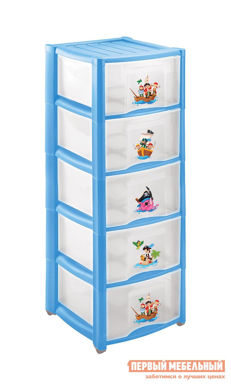 Детский пластиковый комод с рисунком с 5 ящиками Бытпласт 4313429 деревянная заготовка мини комод с 6 ящиками no name 146309
