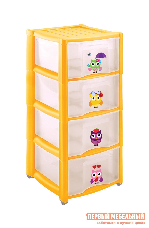 Комод детский Пластишка 4313425 ЖелтыйДетские комоды<br>Габаритные размеры ВхШхГ 785x390x370 мм. Высокий детский комод с яркими сюжетами на фасадах понравится как малышам, так и их родителями.  В четырех ящиках поместятся и игрушки, и вещи ребенка.  Комод можно использовать как игровой элемент и научить малышей самим наводить порядок в комнате.  Благодаря компактным размерам, такой комод не займет много места, а колесики в основании позволят легко перемещать его по комнате. Материал изготовления — полипропилен.<br><br>Цвет: Желтый<br>Цвет: Желтый<br>Высота мм: 785<br>Ширина мм: 390<br>Глубина мм: 370<br>Кол-во упаковок: 1<br>Форма поставки: В разобранном виде<br>Срок гарантии: 1 год<br>Назначение: Для игрушек<br>Материал: Пластиковые<br>Размер: Узкие<br>Особенности: С ящиками, На колесиках, с 4-мя ящиками, С рисунком