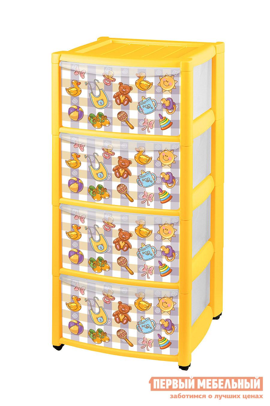 Комод детский Пластишка 4313871 ЖелтыйДетские комоды<br>Габаритные размеры ВхШхГ 785x390x370 мм. Яркий пластиковый комод с четырьмя контейнерами — полезный помощник в детской комнате.  Фасады ящиков декорированы красочными картинками, которые обязательно понравятся малышам и могут стать интересной частью игры.  Комод не займет много места, а все игрушки и вещи всегда будут в порядке и под рукой.  Кроме того, комод оборудован колесиками для легкого перемещения по комнате. Изделие производится из полипропилена.<br><br>Цвет: Желтый<br>Цвет: Желтый<br>Высота мм: 785<br>Ширина мм: 390<br>Глубина мм: 370<br>Кол-во упаковок: 1<br>Форма поставки: В разобранном виде<br>Срок гарантии: 1 год<br>Назначение: Для игрушек<br>Материал: Пластиковые<br>Размер: Узкие<br>Особенности: С ящиками, На колесиках, с 4-мя ящиками, С рисунком