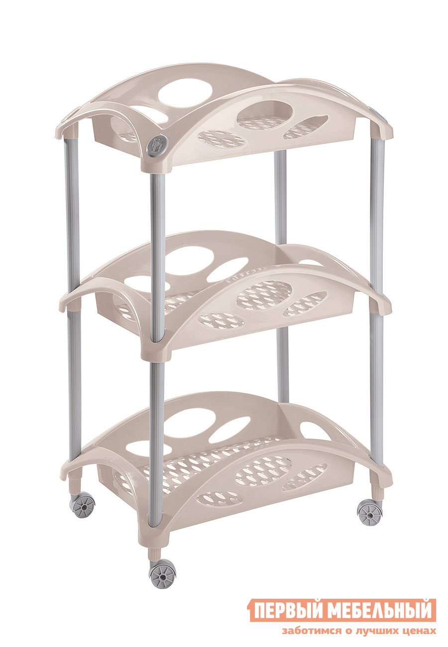 Этажерка Бытпласт 4312084 БежевыйЭтажерки<br>Габаритные размеры ВхШхГ 720x440x307 мм. Компактная этажерка с тремя пластиковыми полочками.  Модель будет полезной для хранения самых разных вещей в спальне, в ванной комнате, на кухне, в детской или на лоджии.  Бортики по бокам полочек на датут предметам упасть.  Этажерка оснащена колесиками для удобного перемещения по комнате. Изготавливается из полипропилена.<br><br>Цвет: Бежевый<br>Цвет: Бежевый<br>Высота мм: 720<br>Ширина мм: 440<br>Глубина мм: 307<br>Кол-во упаковок: 1<br>Форма поставки: В разобранном виде<br>Срок гарантии: 1 год<br>Тип: Прямые<br>Материал: Пластиковые