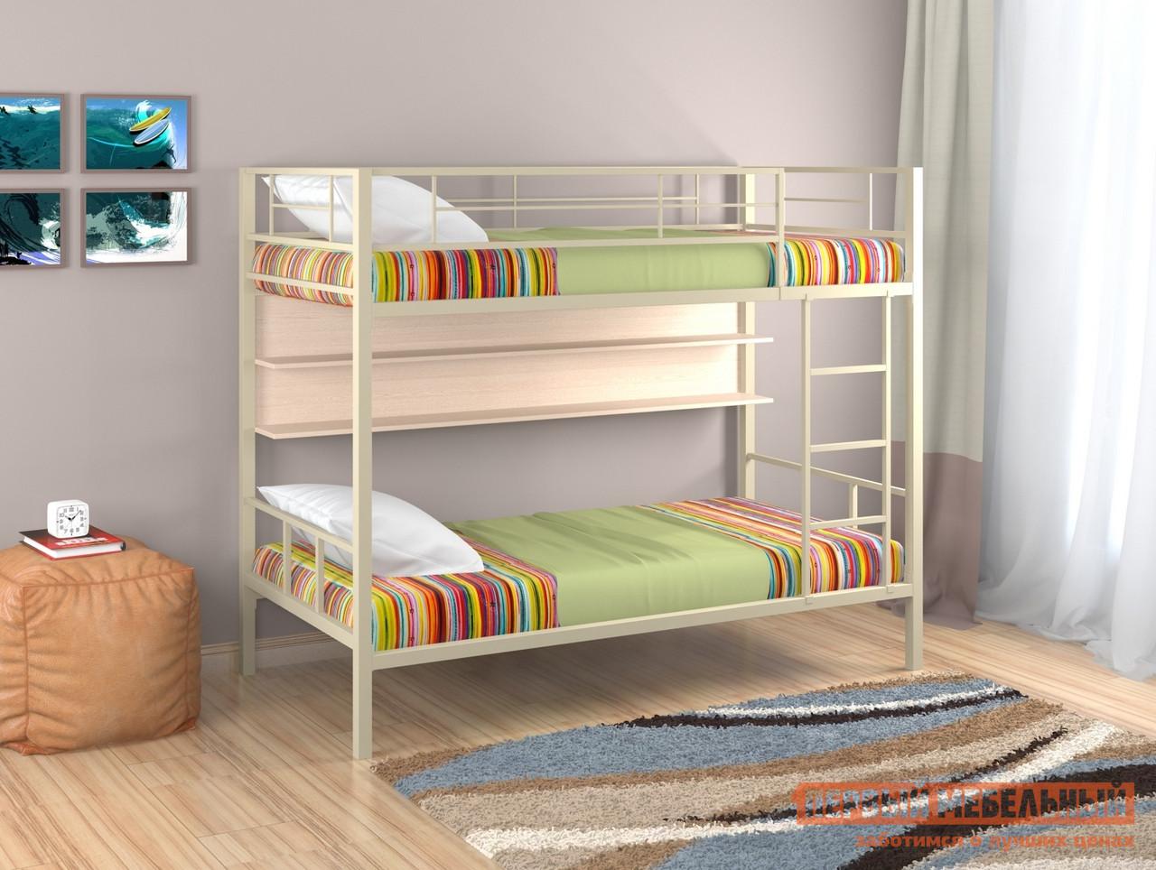 Кровать  Севилья-2 с полкой Бежевый / Молочный дуб