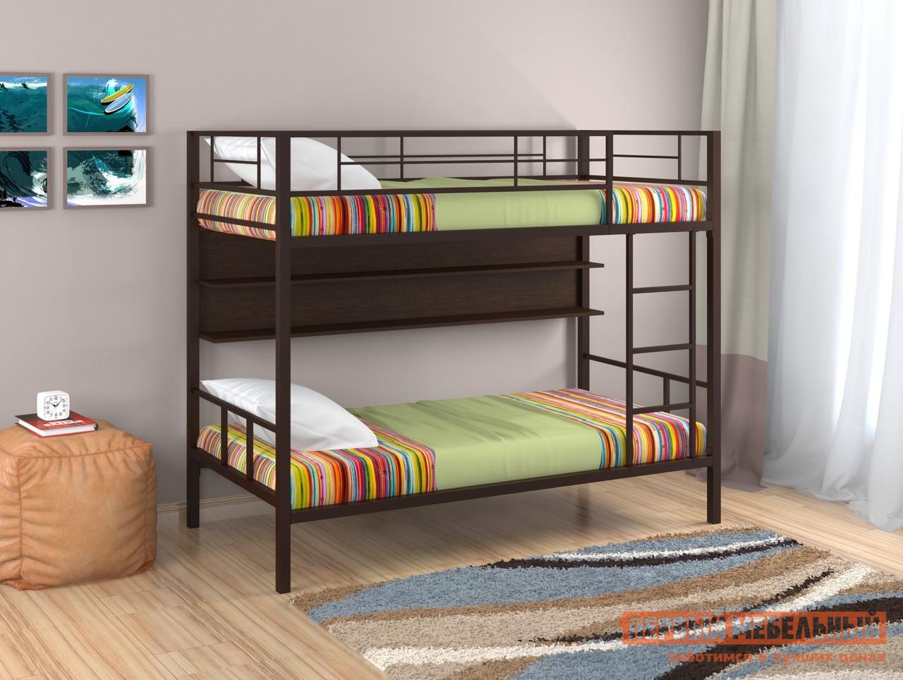 Кровать Redford Севилья-2 с полкой Коричневый / Венге