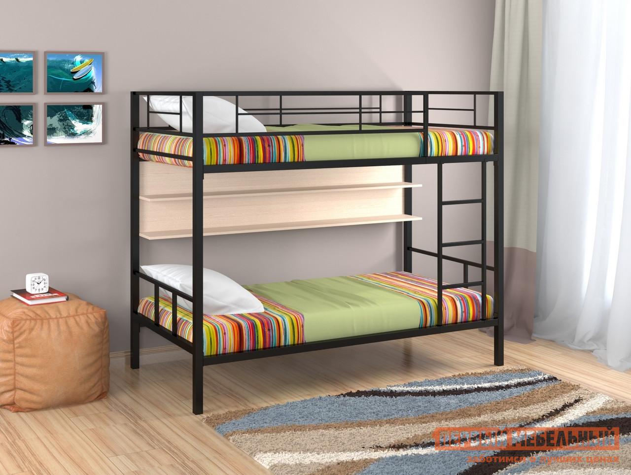 Кровать  Севилья-2 с полкой Черный / Молочный дуб