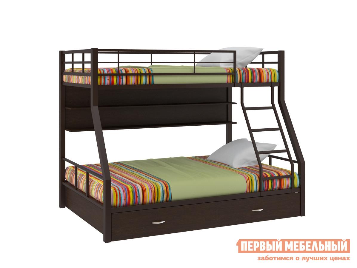 Металлическая двухъярусная кровать с полкой и ящиком Redford Гранада-1 с полкой и ящиком