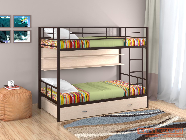 Кровать Redford Кровать Севилья  2 с полкой и ящиком Коричневый / Молочный дуб