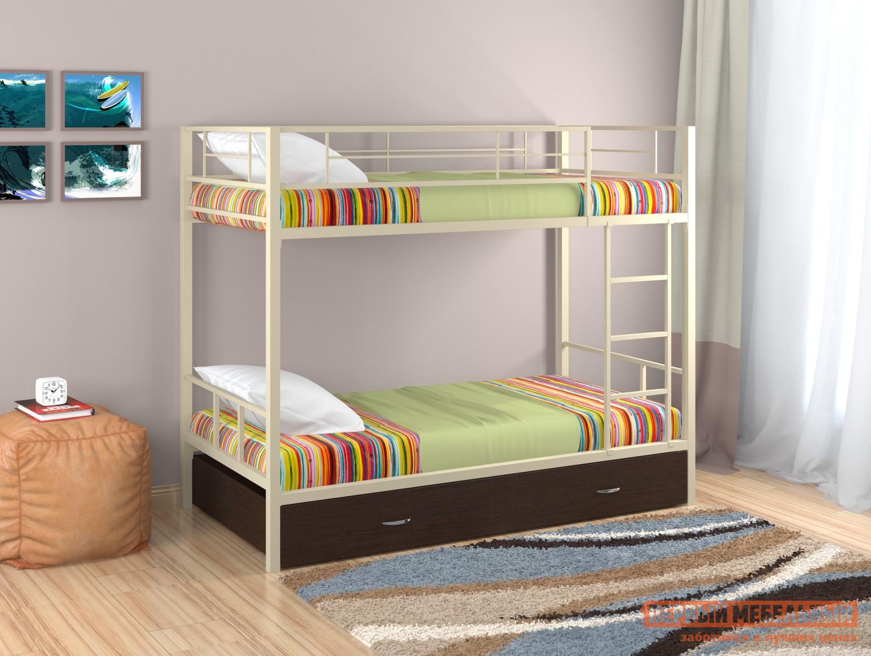 Металлическая двухъярусная кровать с ящиком Redford Севилья - 2 с ящиком детская двухъярусная кровать с рабочей зоной боровичи кровать детская двухъярусная трансформер с ящиком и столиком
