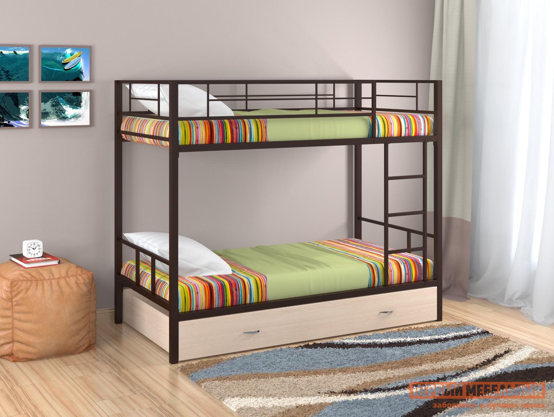 Кровать Redford Севилья - 2 с ящиком Коричневый / Молочный дуб