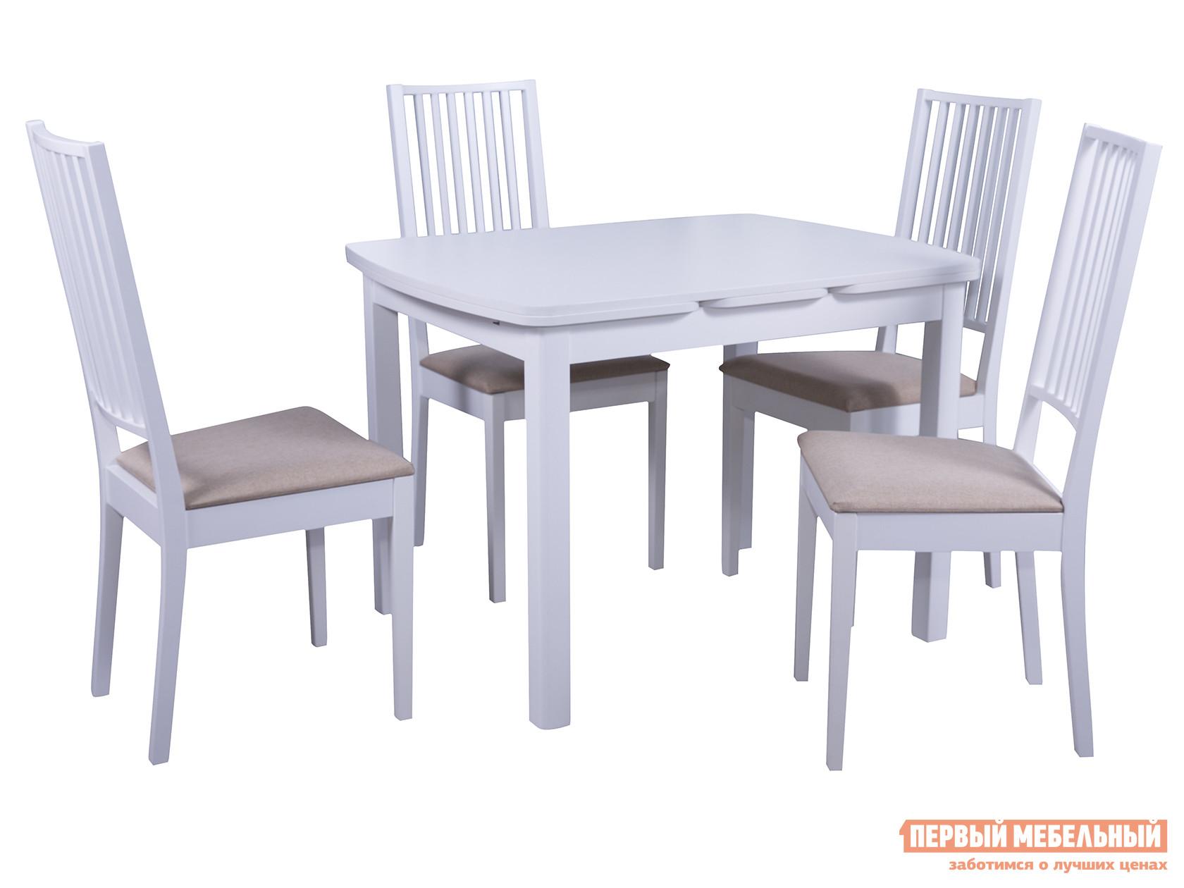 Обеденная группа для столовой и гостиной  Стол Орлеан + 4 стула Родос Белый / Ткань бежевая Мебвилл 91548
