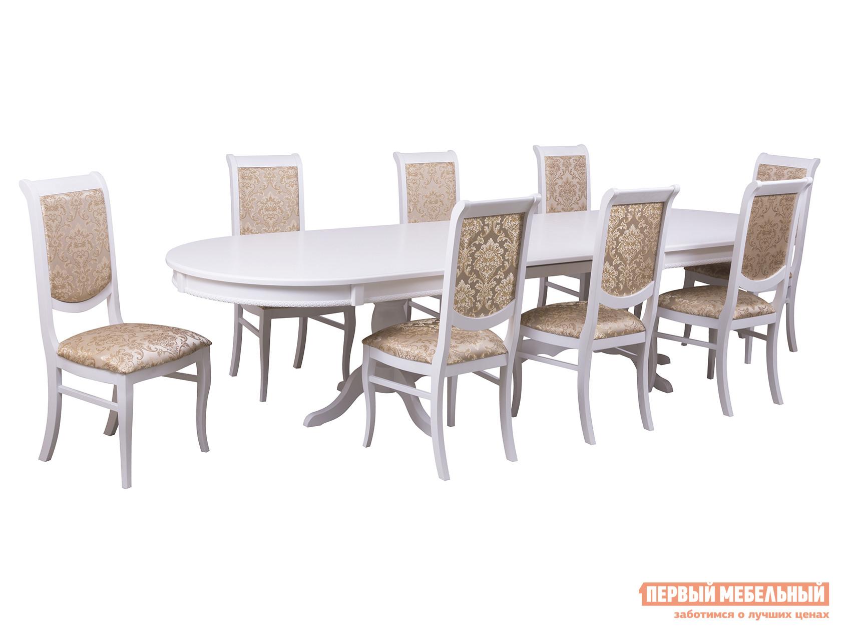 Обеденная группа для столовой и гостиной Mebwill Стол Верона + 8 стульев Флоренция2