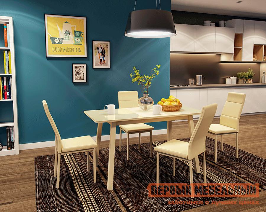 Обеденная группа для столовой и гостиной Mebwill Стол Тирк 2 Стекло + 4 стула Слайп