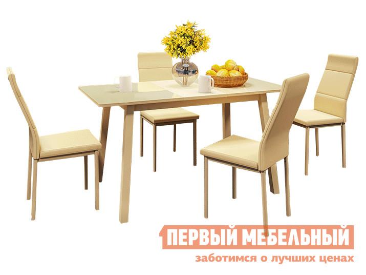 Обеденная группа для столовой и гостиной Mebwill Стол Тирк 2 Стекло + 4 стула Слайп цена 2017
