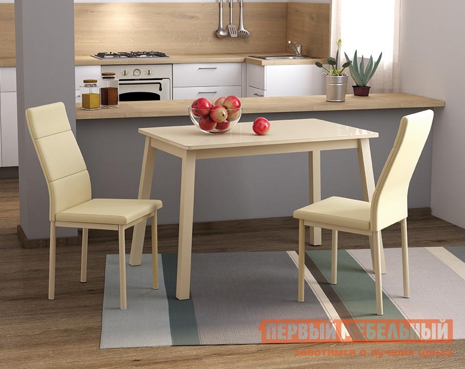 Обеденная группа для столовой и гостиной Mebwill Стол Тирк 2 Стекло + 2 стула Слайп