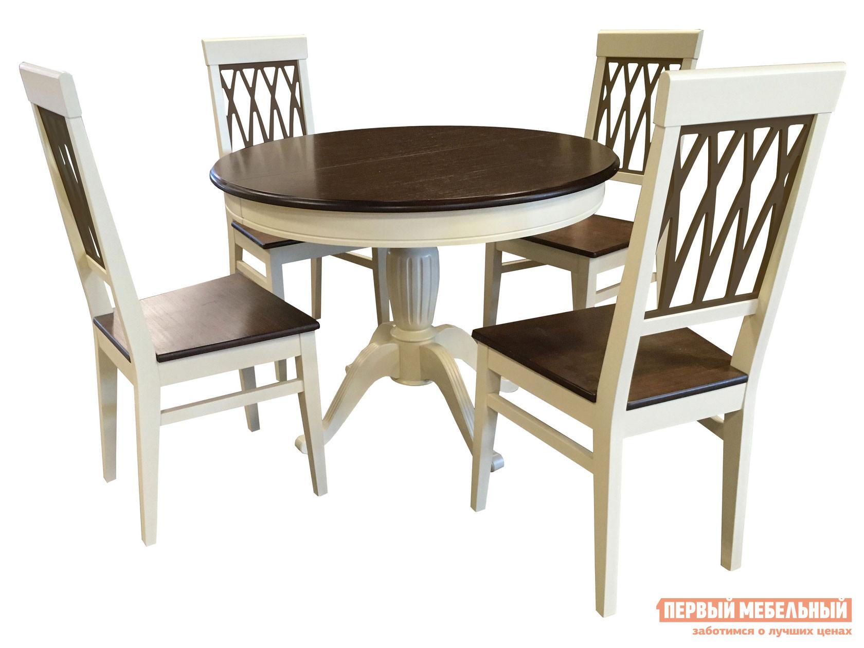 Столовая группа из массива дерева Mebwill Леонардо стол + 4 стула Кристиан