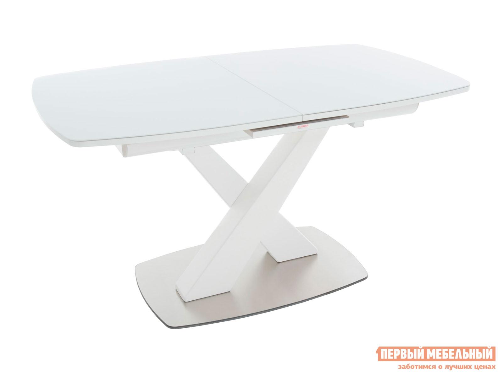 Кухонный стол  Орлеан Белый / Стекло Белое глянцевое Мебвилл 118544