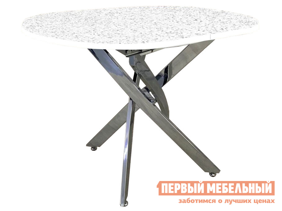 Кухонный стол  Андромеда Андромеда, белый глянец, пластик / Хром, металл, Большой Мебвилл 119947
