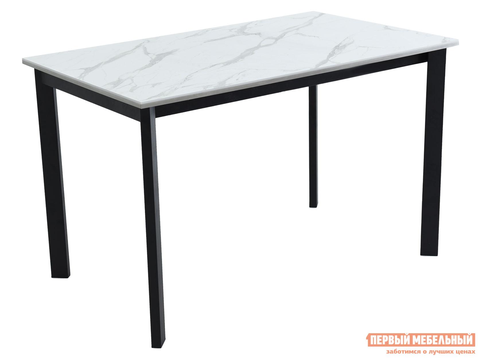 Кухонный стол  Пуэрто Белый камень / Черный муар Мебвилл 127359